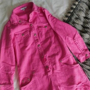 Bright Pink Jean Romper with Distressed Detail